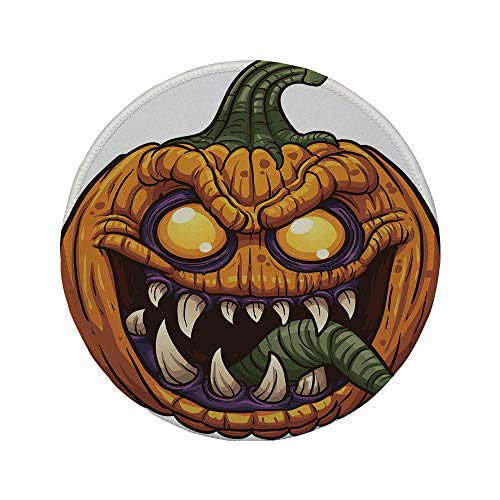 Non-Slip Rubber Round Mouse Pad,Halloween,Scary Pumpkin Monster Evil Character with Fangs Aggressive Cartoon,Purple Orange Dark Green,11.8