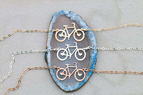 Bicycle-Necklace-IBD-Choose-Chain-Length-935-Sterling-Silver-14K-Gold-Filled-Bike-Bar-Pendant-Cycling-Laser-Cutout-Outline-Charm-34-Inch-x-5-1905-MM-x-127-Cyclist-Gift