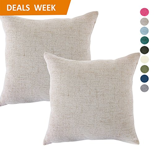 Set of 2 Throw Pillow Covers Coastal Cushions Fine Faux Linen Home Decorative Soft Pillow Case Covers With Zipper for Chair No Pillow Insert Outdoor Indoor Home Decor(18 x 18 inch, Light gray) (Throw Pillow Covers)
