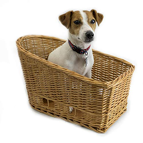 - Cape May Large Rear Mount Willow Bicycle Basket for Dogs - Hand Crafted by Beach and Dog Co - Leashes and mounting Bracket Included
