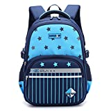 Primary School Backpack Ideal for 1-6 Grade School Students Boys Girls Daily Use and Outdoor Activities Sky Blue