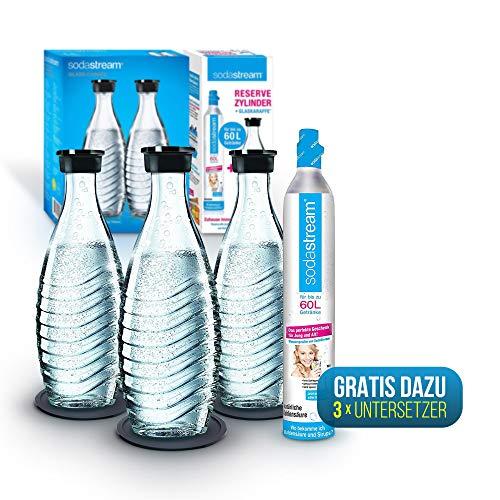 Sodastream Zylinder Mit Glaskaraffe Und Flaschen Untersetzer 1 X