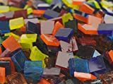Lanyani 1800 Pieces Square Glass Mosaic Tiles Stained Glass Cathedral Glass Pieces Translucent, Assorted Bright Colors for Arts/Crafts 35oz/1kg