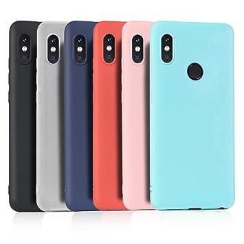 Wanxideng 6 x Funda para Xiaomi Redmi Note 5, Carcasa Suave Mate en Silicona TPU, Ultra Delgado Ligero Soft Silicone Case Cover [ Negro+ Rojo+ Azul ...