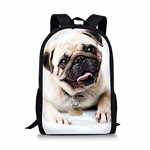 Showudesigns Trend Fashion Pug Dog Printing Backpack for Boys Girls