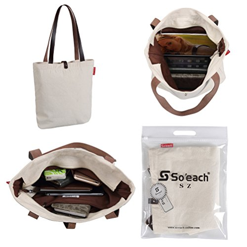 So'each Bolsa de tela y de playa, color natural (beige) - HBD-UK-ODE-15-BG color natural