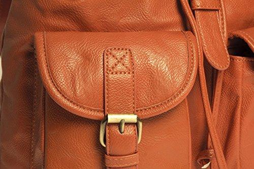 Double Backpack Casual Vegan Bag Big Travel Handbag Vegan Shop Unisex Leather Pocket Rucksack Baby Pink qqYwa8