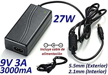 Cargador Corriente 9V 3A 3000mA 5.5mm 2.1mm 27W Escritorio Desktop