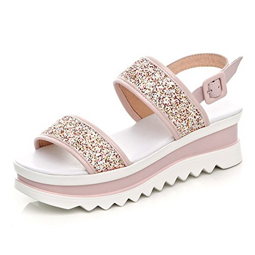 Pink Toe Buckle Soft Solid Kitten Open Womens Material Sandals Heels AmoonyFashion fvRBZ