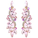 BriLove Gold-Toned Clip-On Dangle Earrings for Women Wedding Bridal Crystal Multi Marquise Filigree Flower Chandelier Earrings Pink Tourmaline Color