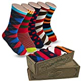 Modern Motif Men's Power Socks, 5 Pairs Per Sock Gift Box, Funky Men's Crew Socks, Colorful Patterned Socks for Men, Ideal Coworker, Dad, Boss, and College Graduation Gift, C-Level Collection