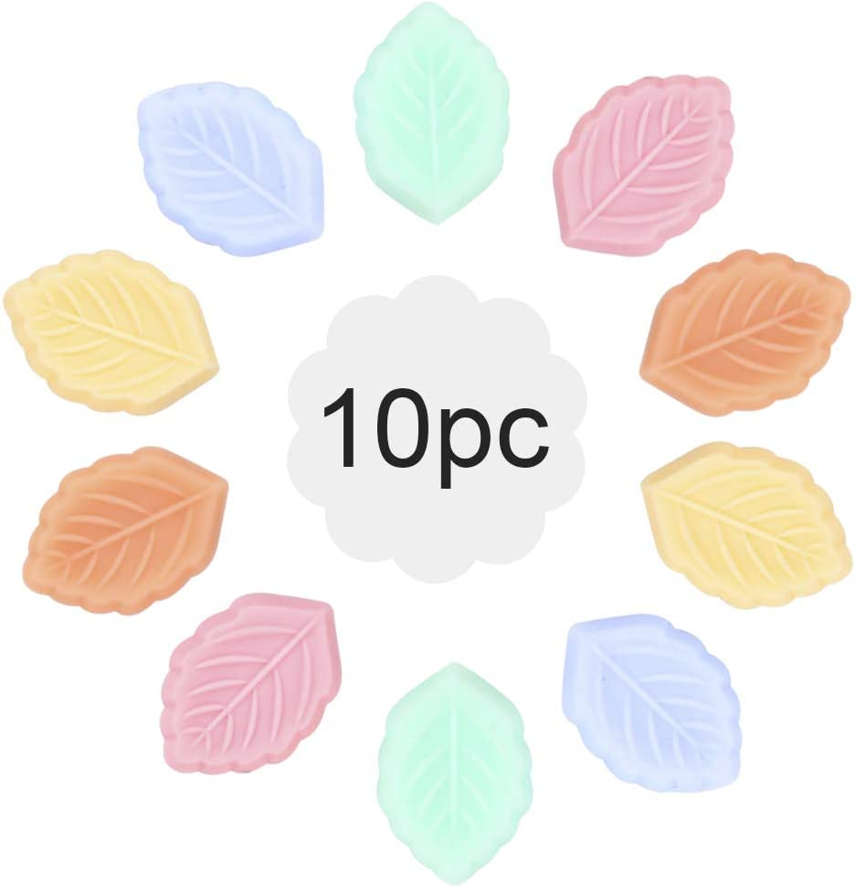 let's make Baby Silicone Beads BPA Free Food Grade Silicone Textured Leaf beads/10pc for Boys and Girls