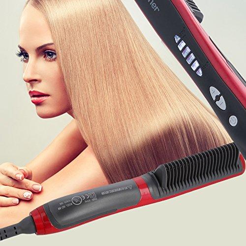 Glätteisen und Bürste in einem Gerät Haarglätter elekrisch mit 6 Leistungsstufen 29 W