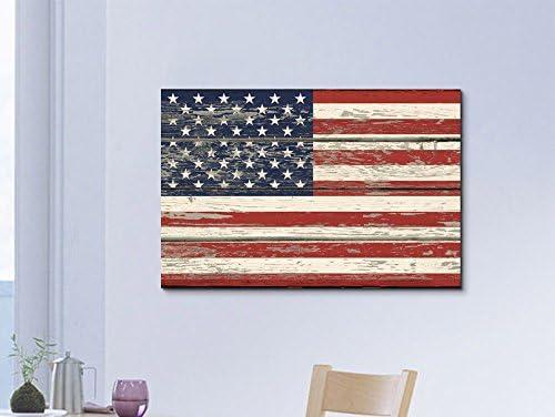 USA Flag on Vintage Wood Background Wall Decor