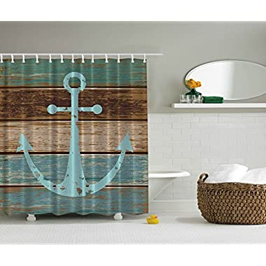 Nautical Anchor Rustic Wood - Shower Curtain - Water, Soap, and Mildew resistant - Machine Washable - Shower Hooks are Included