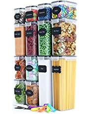 Fiyobo BPA Free Food Storage Containers with Airtight Lids,Leak-Proof Bulk Food Canister Set of 14 for Kitchen & Pantry Organization,Dry Food Storage,Refrigerator - Labels, Marker & Spoon Set