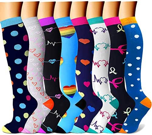 CHARMKING Compression Socks for Women & Men 7/8 Pairs 15-20 mmHg is Best Graduated Athletic,Running,Flight,Travel,Nurses