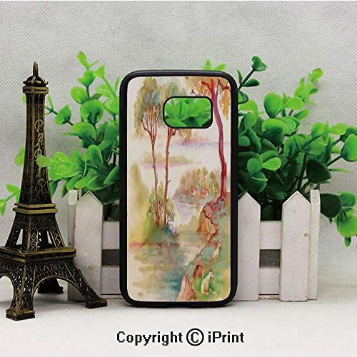 (Summer Landscape with Goats Sheep Eating Woodsy Shrubs Grass Illustration Galaxy S7 Case,Heavy Duty Hybrid TPU Protection Case Cover for Samsung S7 2019 Hard Back Shock Drop Proof Impact Resist Protec)