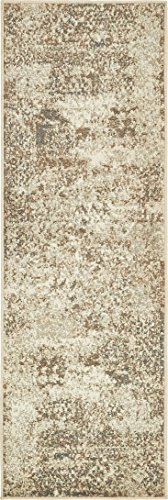 Unique Loom Tuareg Collection Vintage Distressed Traditional Cream Runner Rug (2′ x 6′)