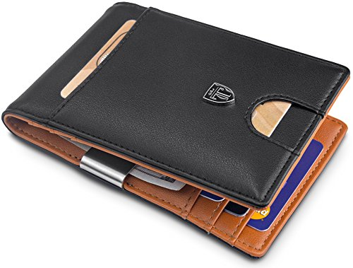 "TRAVANDO Money Clip Wallet""RIO"" - Mens Wallets slim Front Pocket RFID Blocking Card Holder Minimalist Mini Bifold Gift Box"