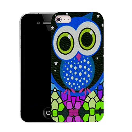 Mobile Case Mate IPhone 5S clip on Silicone Coque couverture case cover Pare-chocs + STYLET - blue mozaic owl pattern (SILICON)