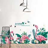 iwallsticker Pink Flamingos Green Plants Leaves Pastoral Style Wall Stickers Wall Decal Vinyl Removable Art Wall Decals for Bedroom Living Room Nursery Room Children's Bedroom