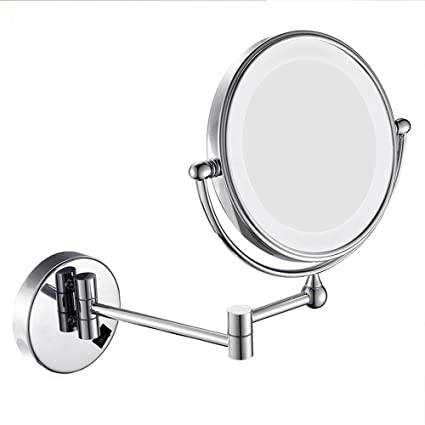 Metcandy Wall-Mounted Vanity Mirror 8-inch Rechargeable Double-Sided Magnification Vanity Mirror