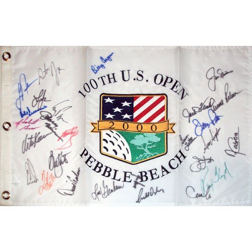 2000 US Open (Pebble Beach) Golf Pin Flag Autographed by 30 Former Champions (Pebble Beach Us Open Flag)