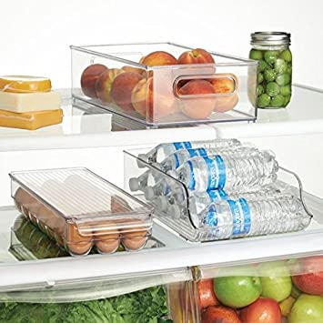 BPA-Free Wide Clear 72730 Basement Garage Fridge InterDesign Plastic Refrigerator and Freezer Storage Organizer Bin Water Bottle and Drink Holder for Kitchen