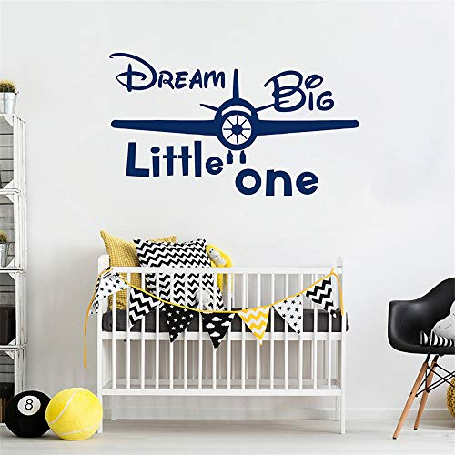 Decals Stickers Wall Words Sayings Removable Lettering Dream Big Little One Quote Sticker Plane for Living Room Bedroom Nursery Kids Bedroom]()