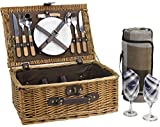 Wicker Picnic Basket for 2 Persons with Cutlery