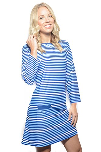 Cabana Life Women's Long Sleeve Dress Swim Cover Up Moroccan Stripe L