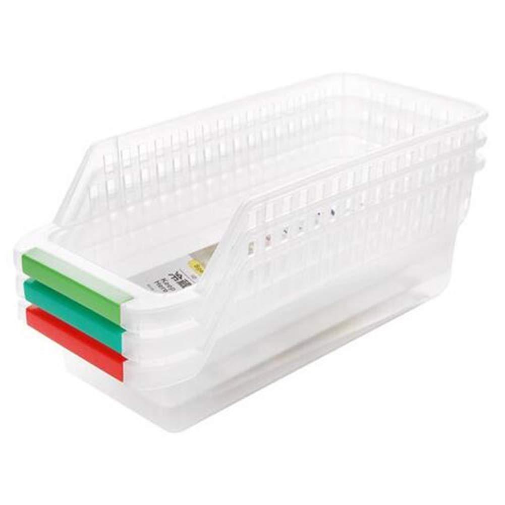 Deanyi 3 PCS plástico Durable despensa de la Cocina del Organizador del gabinete frigorífico congelador de Alimentos Almacenamiento de Contenedores con Mango Color al Azar