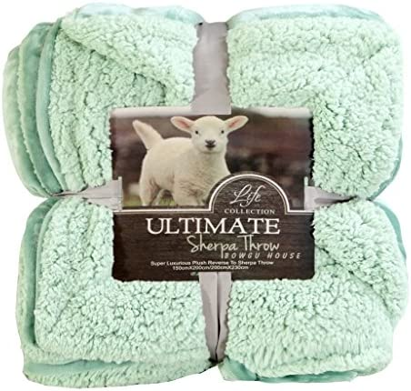 YOUSA Thick Warm Fleece Sherpa Bed Throw TV Blanket 59''x79''-Matcha Green