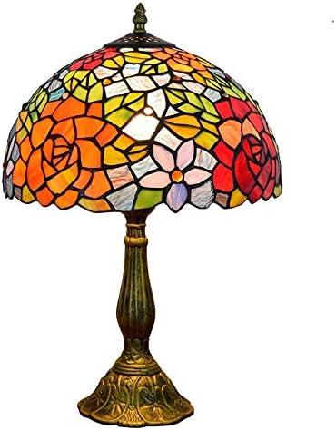 Mesa de la sala de la lámpara 12 pulgadas del vitral de Tiffany lámpara de mesa Rose creativo decoradas de forma individual dormitorio de noche