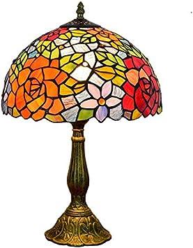 Huier Estilo de Cristal de Tiffany lámpara de Mesa de los hogares Tabla Lam 12 Pulgadas del vitral de Tiffany lámpara de Mesa Rose Creativo Decoradas de Forma Individual Dormitorio de Noche