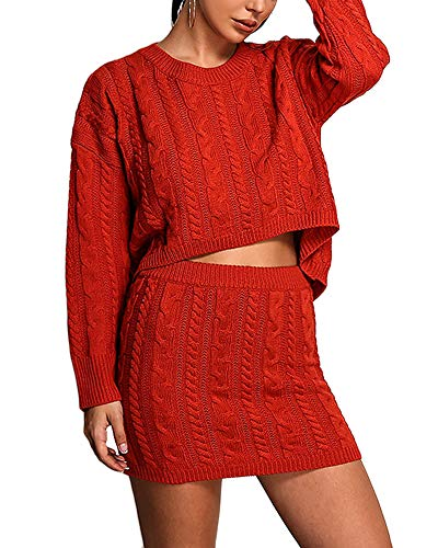Cosygal Women's Casual Knit 2 Piece Outfit Long Sleeve Sweater Pullover Crop Top and Skirts Dress Set Orange Large