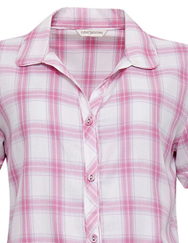 Cyberjammies 3325 Women's Olivia Pink Check Cotton and Modal Pajama Sleepwear PJs Pyjama Top