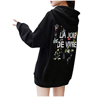 Sttech1 Plain Hoodie Women Hooded Sweatshirt Pocket Back Letter Pattern Printed V-Neck Pullover Sweatshirts Warm Coat: Clothing [5Bkhe0305395]