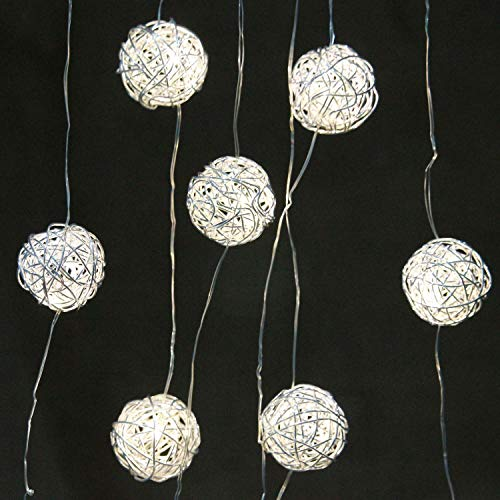 Luces de cadena para decoración de banquetes de boda, luces de hadas enchufables de bola de ratán, 10 pies, 15 LED, USB / batería con control remoto para interiores, dormitorio, jardín, hogar, vacaciones, oficina, adornos de aula
