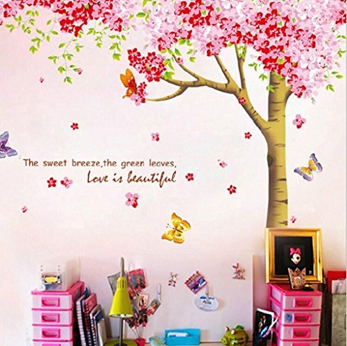 Jessie≤tty Large Pink Sakura Flower Cherry Blossom Tree Wall Sticker Decals PVC Removable Wall Decal for Nursery Girls and Boys Children's Bedroom (flower tree)