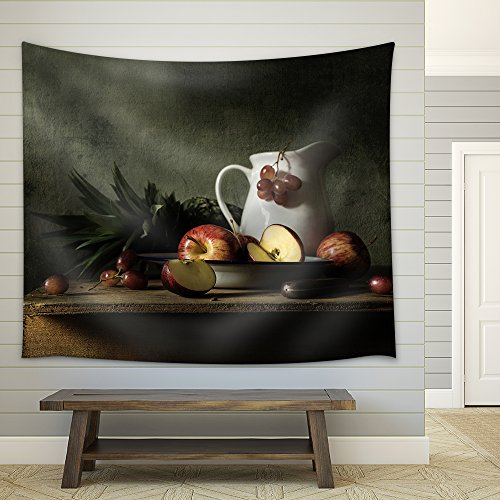 Still Life with Fruits on Wood Table Fabric Wall Tapestry