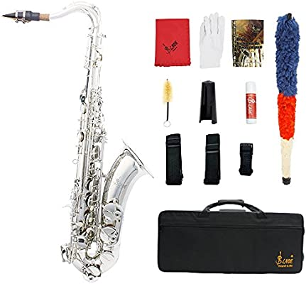 Ammoon latón Lade Bb Tenor saxofón Sax tallada patrón blanco perla Shell Botones instrumento de viento con estuche guantes Paño de limpieza grasa correa cepillo: Amazon.es: Instrumentos musicales