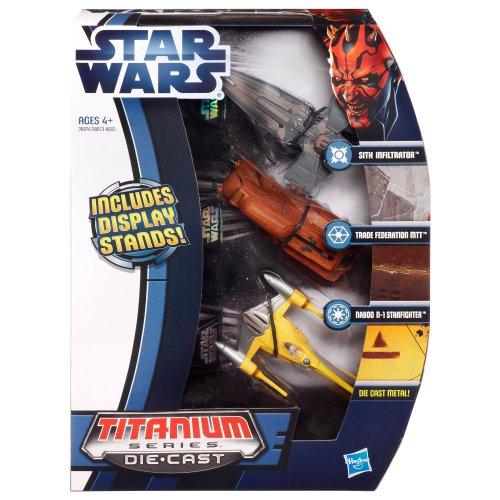 Star Wars Die Cast Titanium Vehicle - Sith Infiltrator, Trade Federation MTT, Naboo N-1 Starfighter
