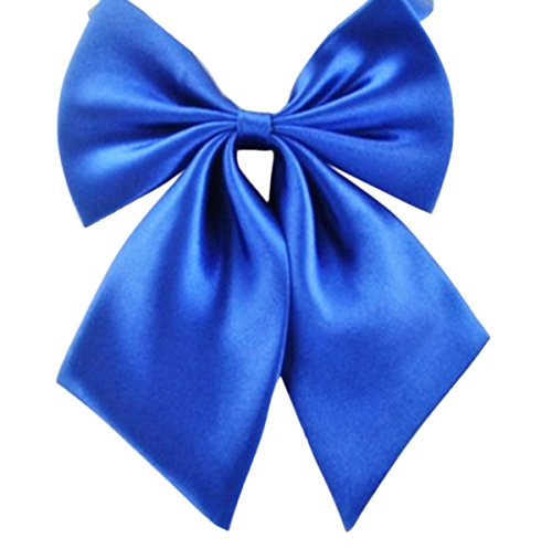 FEOYA Lady Adjustable Pre-tied Bow Tie Collection Solid Color Bowties for Women Royal Blue