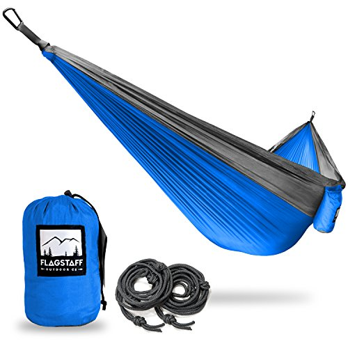Single & Double Camping Hammocks - Includes 2 Support Ropes and Carabiners - Portable Lightweight Parachute Nylon - Perfect for Camping, Backyard, Beach and - Flagstaff Kids