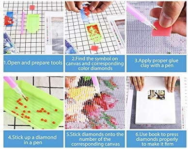 OUBEY DIY Diamond Rhinestone Painting Kits for Adults and Beginner Embroidery Arts Craft Home Decor Abstract Parent Child 9.8x7.9inch 5D Full Drill Diamond Painting Kit
