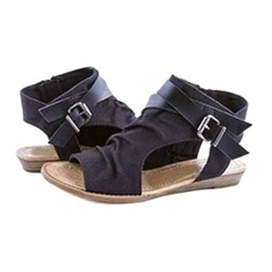 6b6abfa3453e Highdas Women Sandals Shoes Peep Toe Roman Sandals Flat Summer Holiday  Outdoor Sandals Black 36