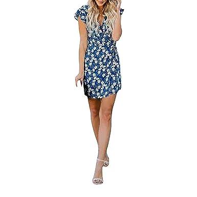 f6f1572c85c DaySing Robe Robe Vintage Femme Mi-Longue Décontractée Imprimée à Col en V  Et Taille Haute pour Femmes  Amazon.fr  Vêtements et accessoires