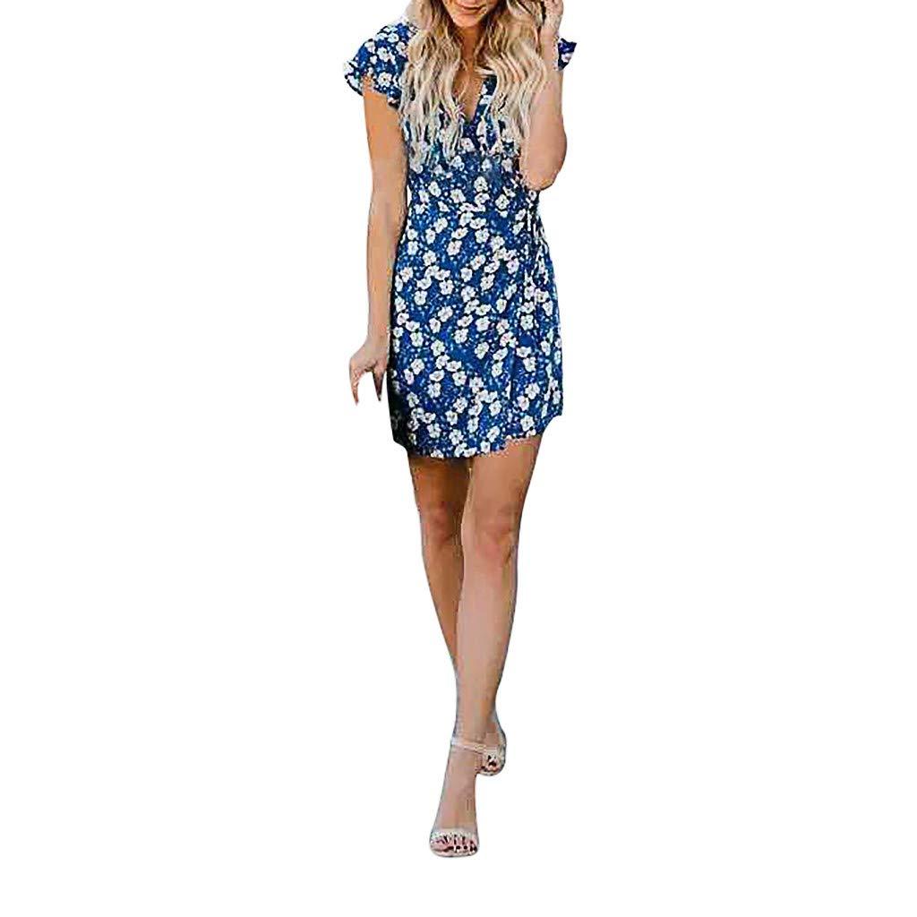Serzul Women Spring Summer Boho Floral Printing Short Sleeve Mini Dress Party Evening Beach V-Neck Sundress Blue